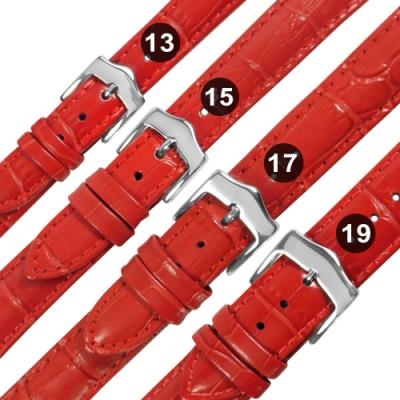 Watchband / 各品牌通用 真皮壓紋錶帶 不鏽鋼扣頭-紅色