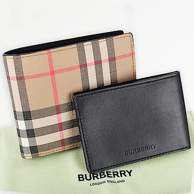 [領券現折600] BURBERRY Vintage 經典格紋對折短夾(附證件卡片夾)-典藏米色