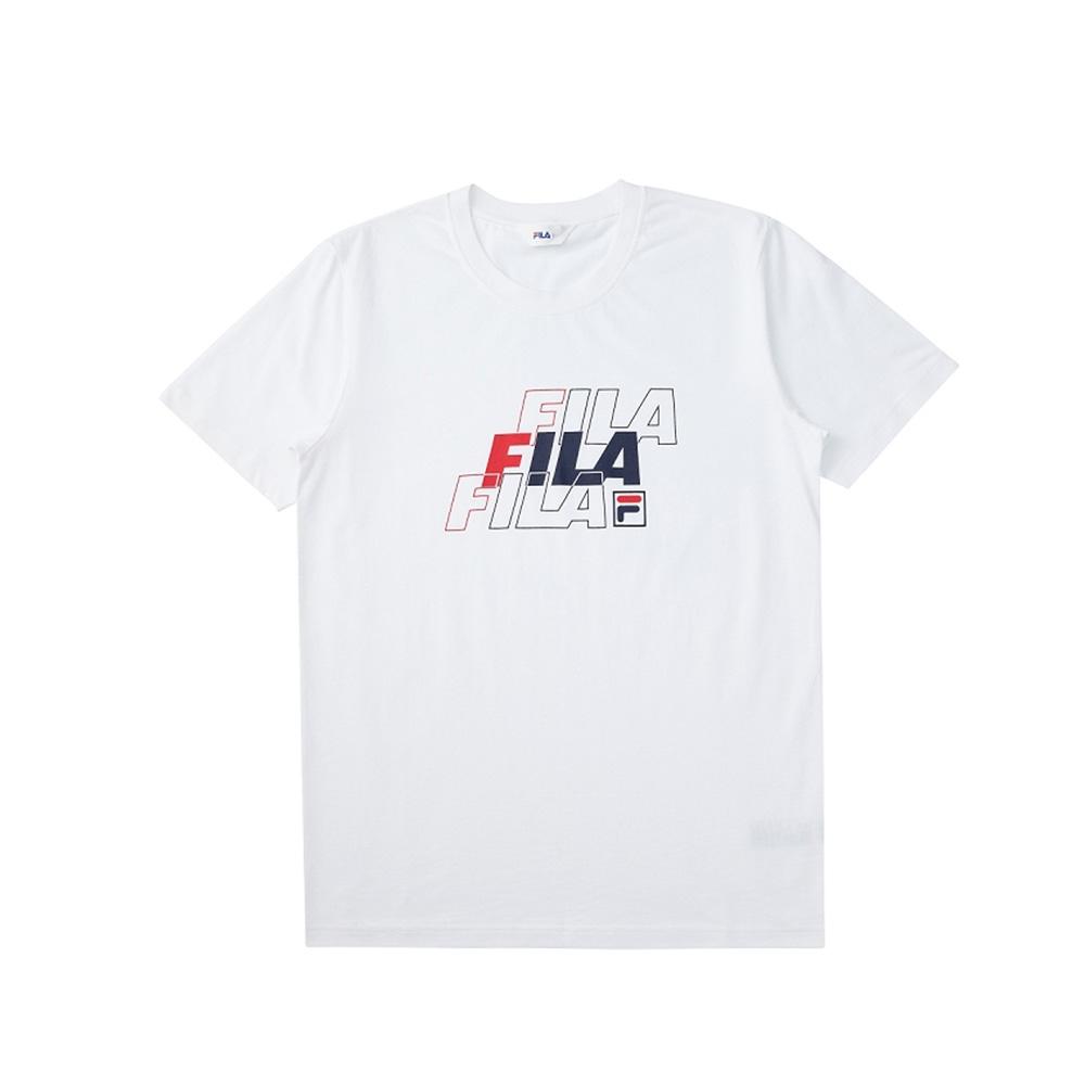 FILA 短袖圓領T恤合身版-白色 1TEV-1518-WT