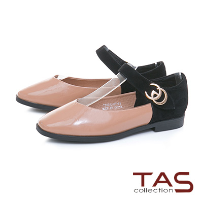 TAS金屬扣飾一字繫帶麂皮拼接娃娃鞋–氣質粉