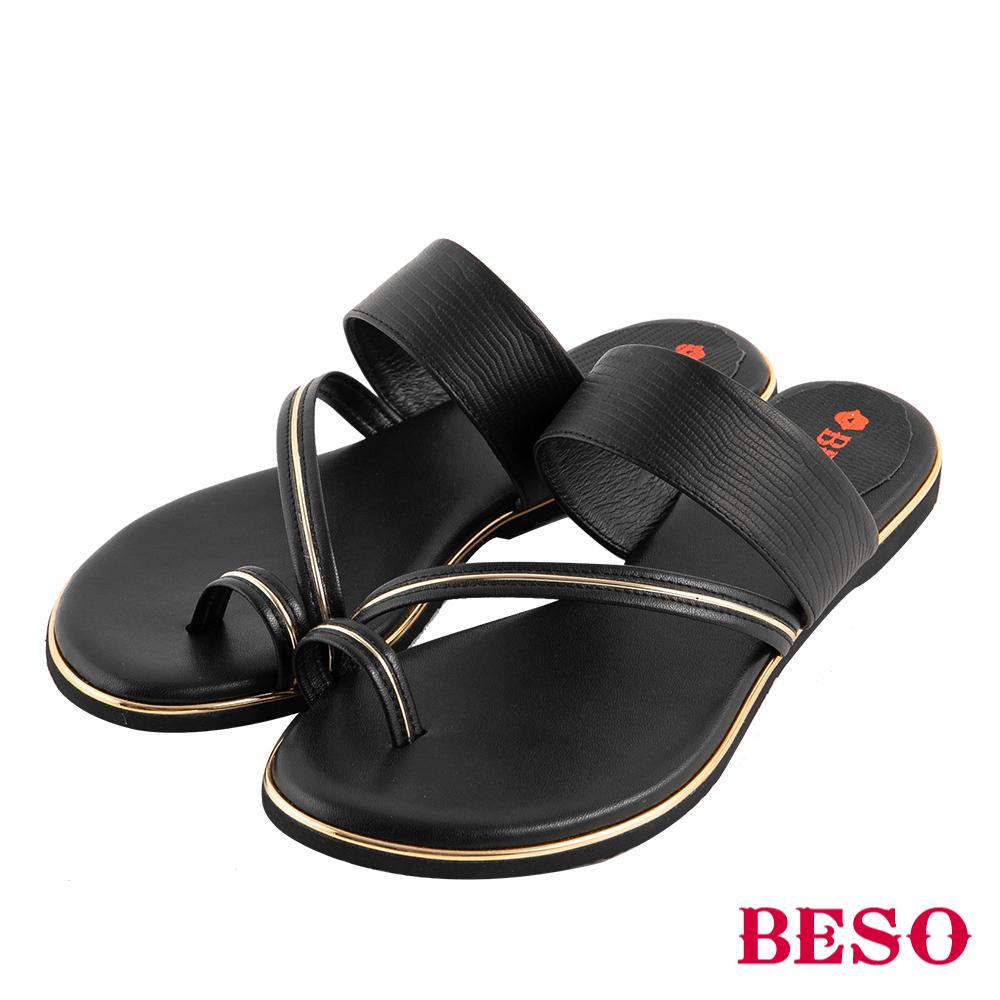 BESO 完美仲夏 金屬套指涼拖鞋~黑