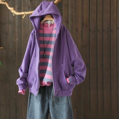 溫暖厚實素色抽繩連帽加絨衛衣寬鬆外套-設計所在