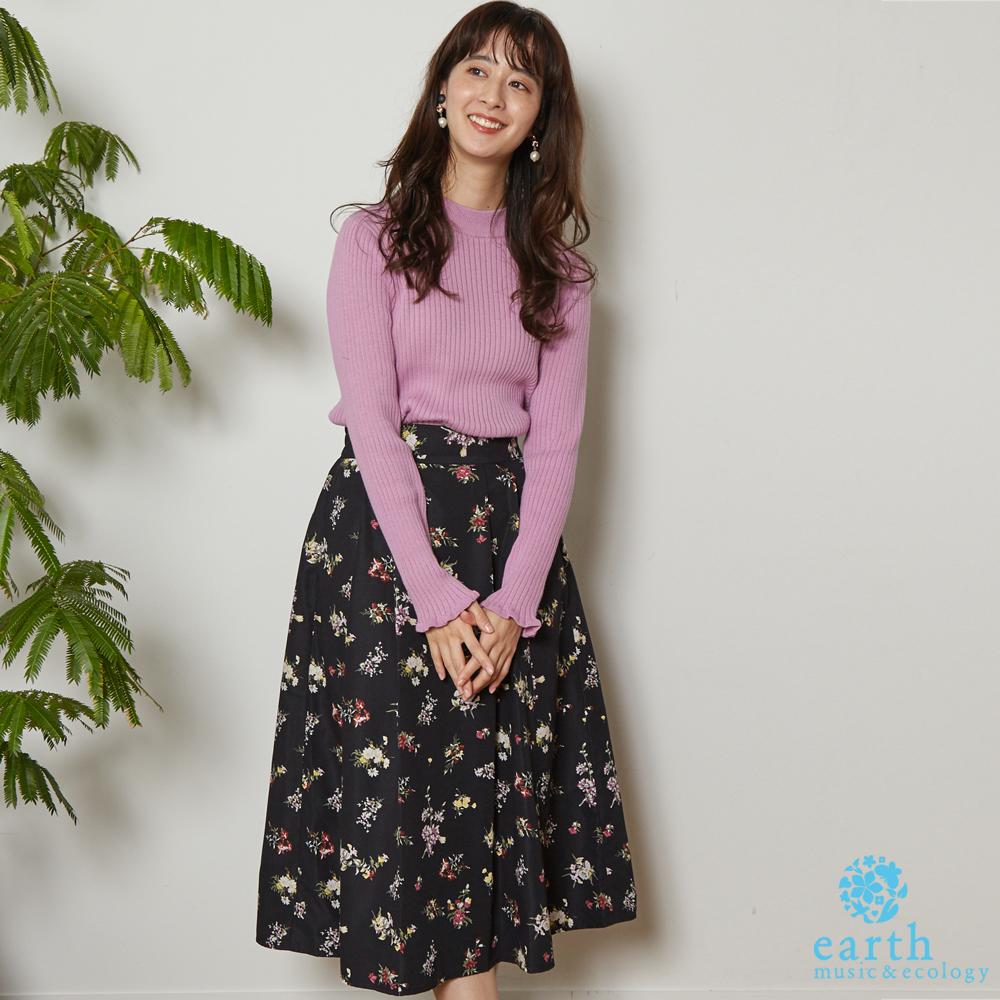 earth music 羅紋針織衫+碎花柄打印長裙