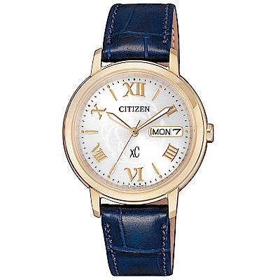CITIZEN星辰xC光動能真皮時尚手錶(EW2422-21A)-金X藍/32mm