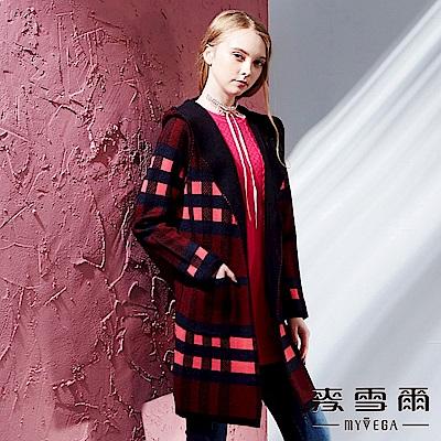 【麥雪爾】保暖羊毛開襟針織連帽外套-深灰