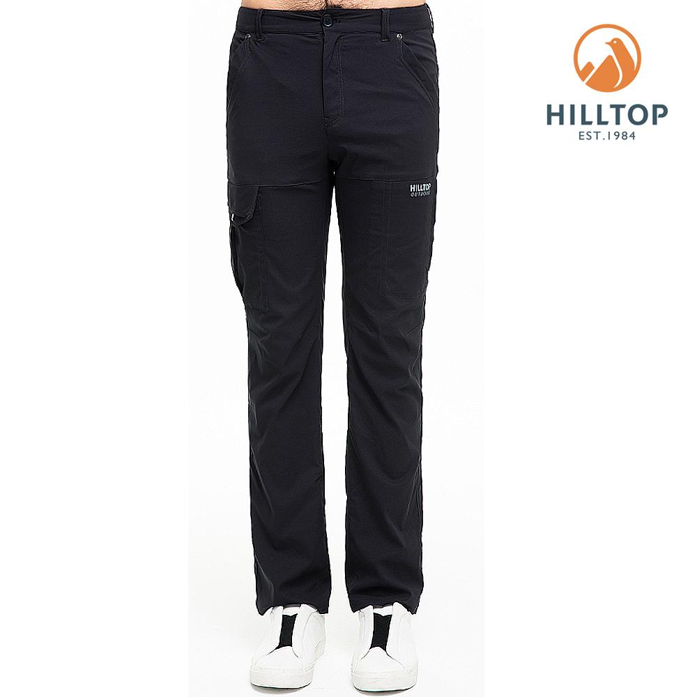 【hilltop山頂鳥】男款超潑水抗UV彈性長褲S07MC2無月黑
