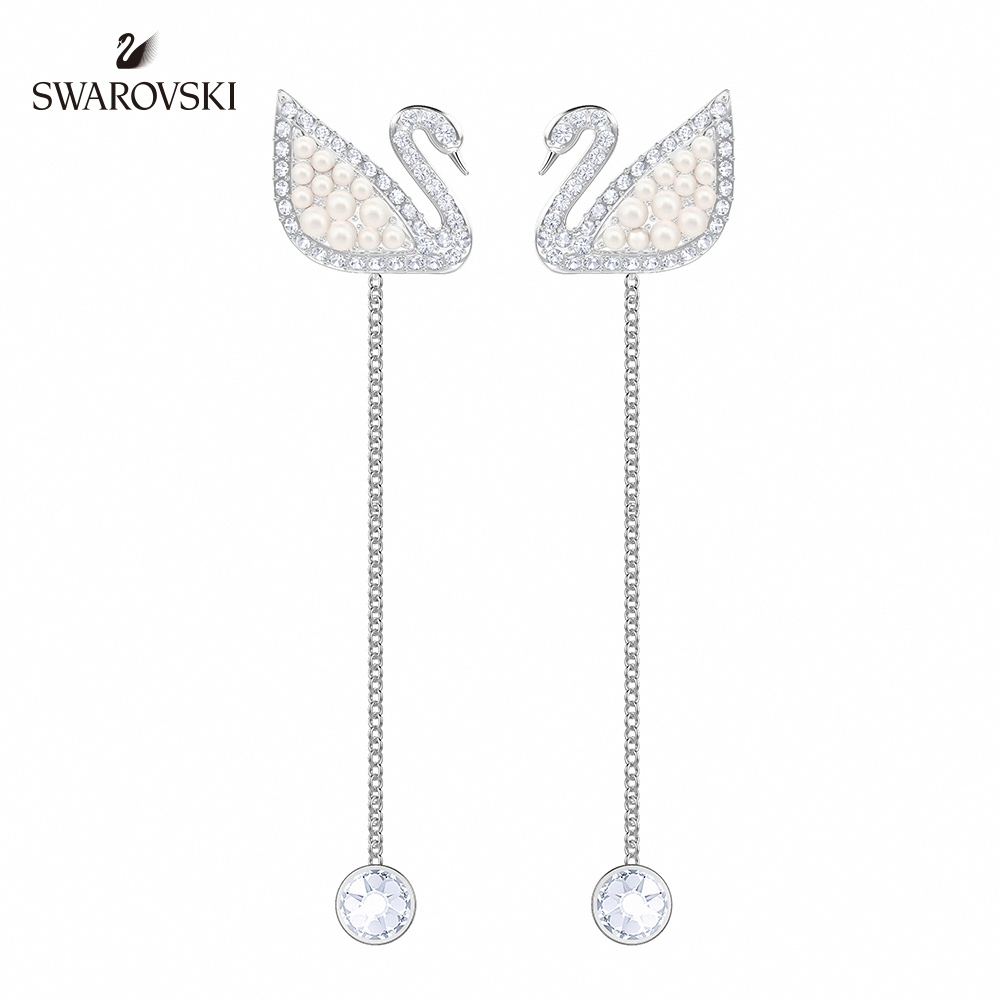 SWAROVSKI施華洛世奇 Iconic Swan 經典時尚天鵝穿孔耳環