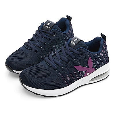 PLAYBOY 針織布氣墊輕量運動鞋-藍-Y5739FF