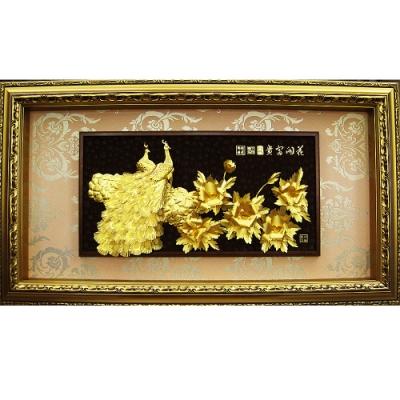 純金 歐洲宮廷風系列金箔畫 牡丹孔雀【花開富貴】