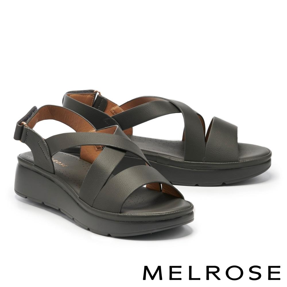 涼鞋 MELROSE 簡約低調交叉寬帶楔型涼鞋-灰