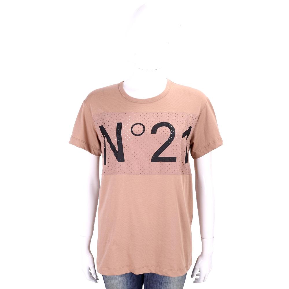 N° 21 字母簍空設計粉色棉質T恤