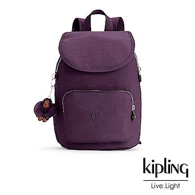 Kipling 後背包 深紫素面 -大
