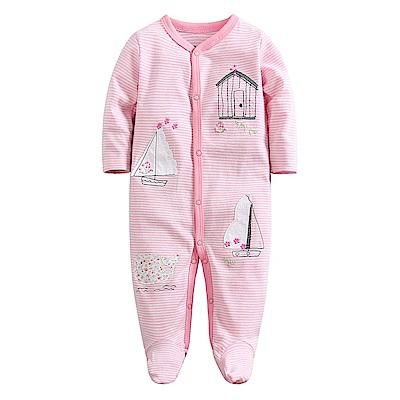 Baby unicorn 條紋帆船長袖包腳連身衣