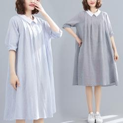 翻領條紋後背扣休閒寬鬆連身洋裝F-(共二色)-KEER