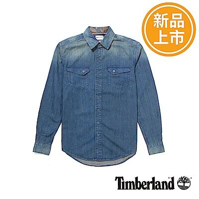 Timberland 男款藍色復古修身牛仔襯衫