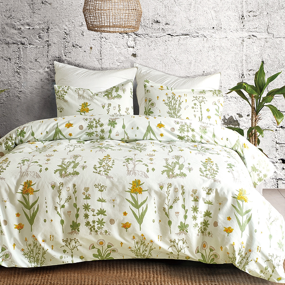 Goelia 繁縷 親膚舒柔活性印染超細纖雙人床包枕套三件組