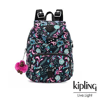 Kipling 繽紛奇想叢林圖騰前扣多隔層後背包-QUEENIE