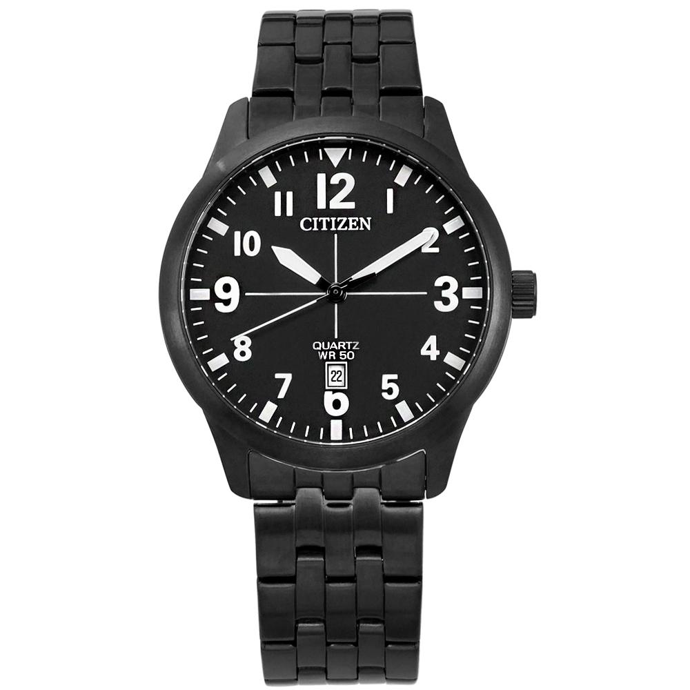 CITIZEN 清晰簡約 日期 礦石強化玻璃 日本機芯 不鏽鋼手錶-鍍黑/40mm @ Y!購物