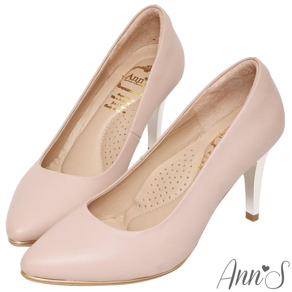 Ann'S優雅韻味-頂級小羊皮夾心電鍍銀跟尖頭鞋-粉