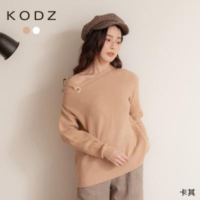 東京著衣-KODZ 甜美日系露單肩質感釦圓領毛衣/上衣
