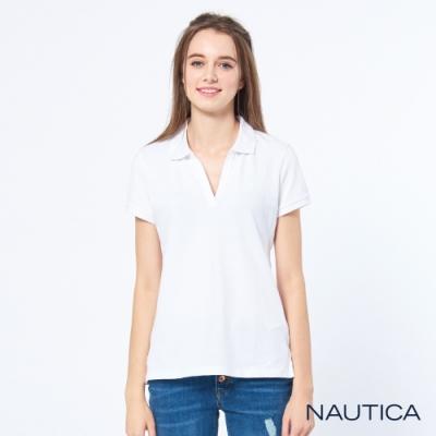 Nautica女裝素面V領修身短袖POLO衫-白色