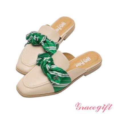 Grace gift-哈利波特史萊哲林學院蝴蝶結穆勒鞋 米白