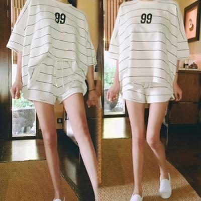 【韓國K.W.】(預購)百搭英倫條文字母套裝褲-2色