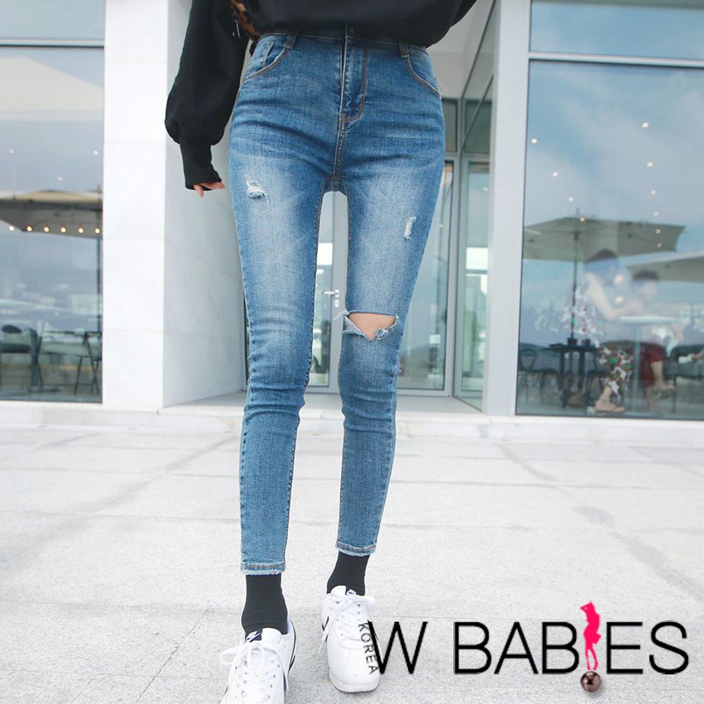 正韓 刷破挖洞彈性腰部牛仔褲 (藍色)-W BABIES