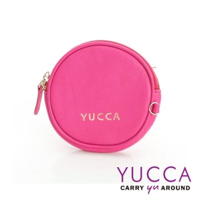 YUCCA - 圓形馬卡龍色鑰匙零錢包 - 桃紅色 (D0043012C45-1)
