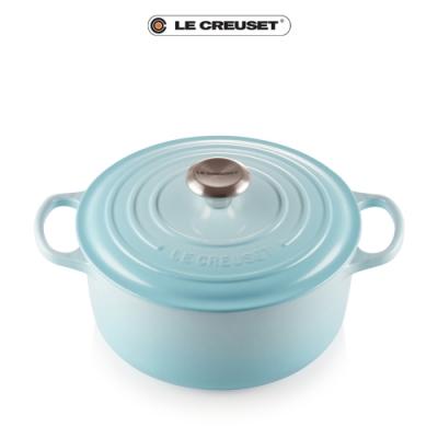 [結帳7折]LE CREUSET琺瑯鑄鐵典藏圓鍋24cm(水漾藍)鋼頭