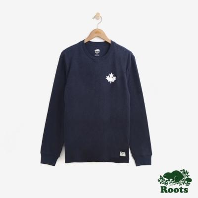 男裝Roots- 庫柏楓葉長袖T恤-藍