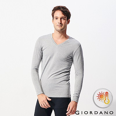 GIORDANO 男裝Beau-warmer plus+彈力V領極暖衣-03 灰色