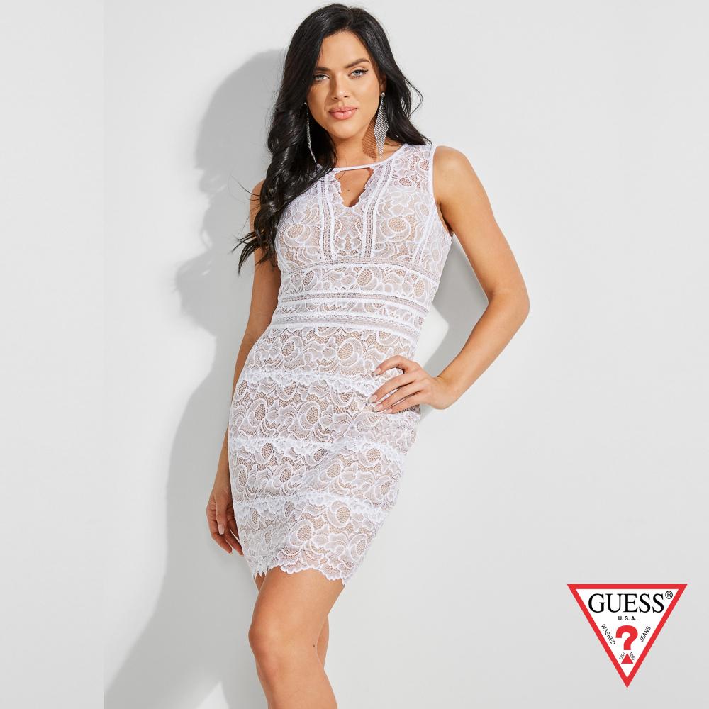 GUESS-女裝-削肩雕花無袖洋裝-白 原價2490