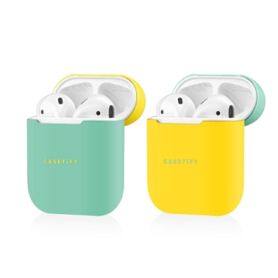 Casetify AirPods 雙色保護殼-綠黃(二入)