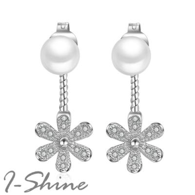 I-Shine-正白K-百花齊放-韓國垂墜後掛式小雛菊花朵珍珠鑲鑽造型銀色耳針耳環DB48