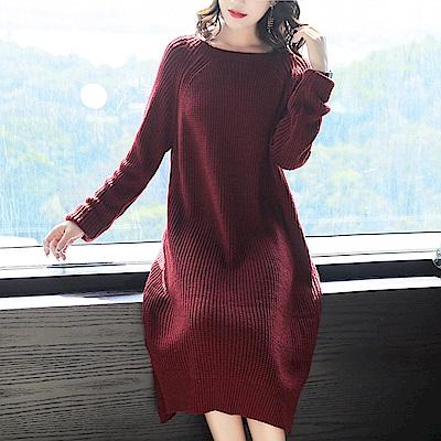 純色粗針織小開衩連衣裙-M~3XL(共四色)-糖潮