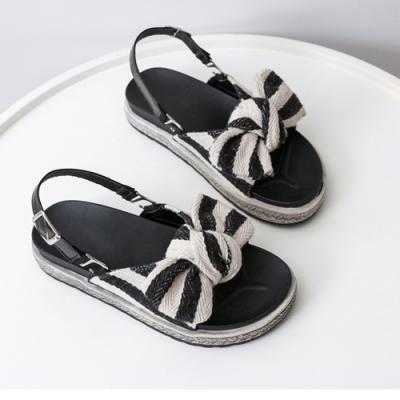 KEITH-WILL時尚鞋館 好評加碼優雅蝴蝶結平底涼鞋 黑