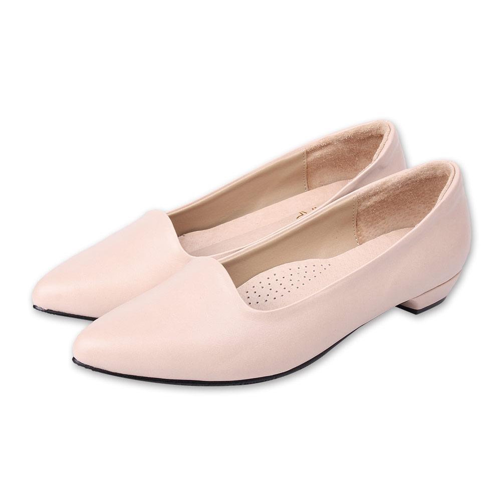 TTSNAP尖頭鞋-MIT細緻羊紋真皮低跟鞋 膚
