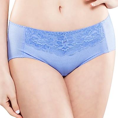 思薇爾 花霓系列M-XL蕾絲低腰平口內褲(長春藍)