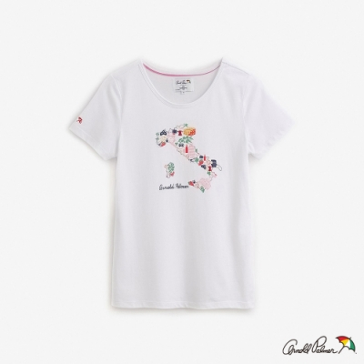 Arnold Palmer-女裝-義大利地圖印花短袖上衣-白