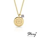 STORY故事銀飾-白爛貓與我系列-家族圓牌誕生石 純銀項鍊