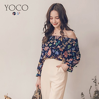 東京著衣-yoco 優雅名媛復古花朵一字領喇叭袖上衣-S.M.L(共二色)