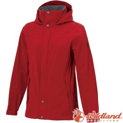 Wildland 荒野 W3911-08紅色 女單件式防水透氣外套/防風防雨