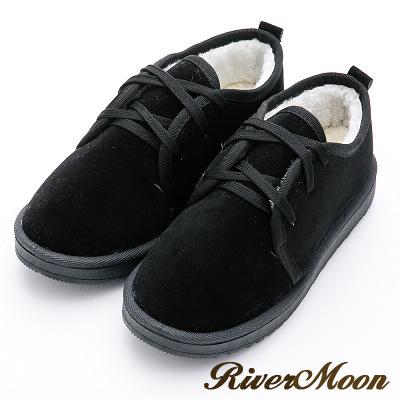 River&Moon雪靴-暖呼呼鋪毛俏麗綁帶Q軟底短靴-黑
