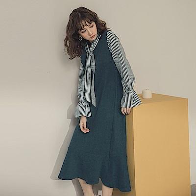 條紋襯衫拼接仿毛料假兩件式魚尾洋裝-OB嚴選