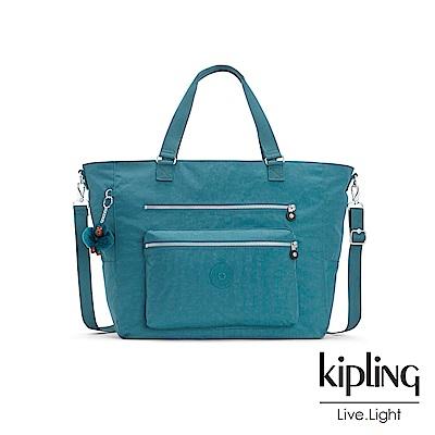 Kipling 靜謐藍綠色雙拉鍊手提側背包-ISAAC