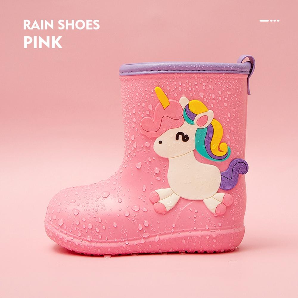 Cheerful Mario 兒童雨鞋-粉色小馬