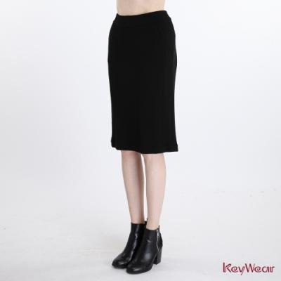 KeyWear奇威名品    羊毛時尚輕薄柔軟窄裙-黑色