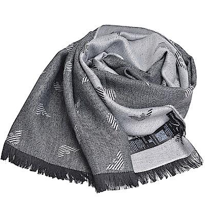 EMPORIO ARMANI 義大利製老鷹LOGO圖騰高質感混羊毛圍巾/披肩(灰色系)