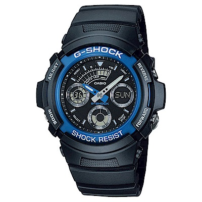G-SHOCK 極速強悍雙顯錶(AW-591-2A)-藍/46.4mm